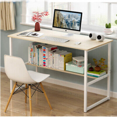 Modern Wooden Computer Desk With Sliding Keyboard Tray Shelves PC Study Table
