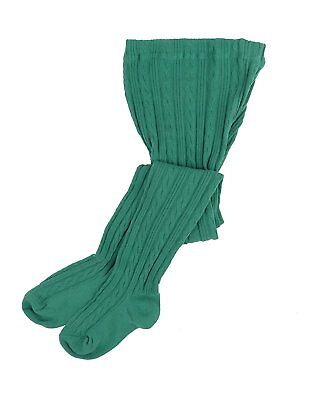 Leveret Girls Knit Cable Tights Green Size 8-10 Years