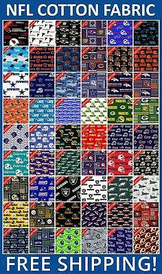 "NFL Sport All Teams Collection Cotton Fabric - 60"" Wide - Free Shipping!!"