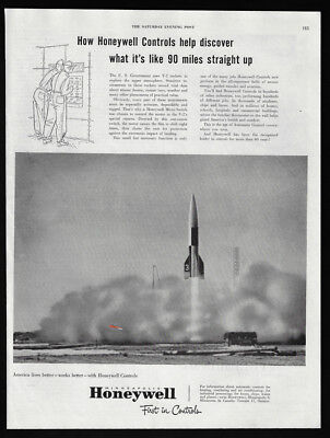 1951 Vintage Print Ad 50's HONEYWELL rocket space ship explosion space explore