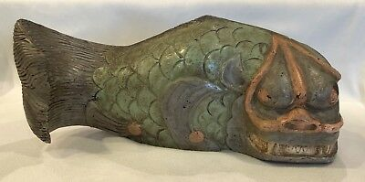 Unique Large Vintage Chinese Folk Art Hand Carved Painted Monster Fish