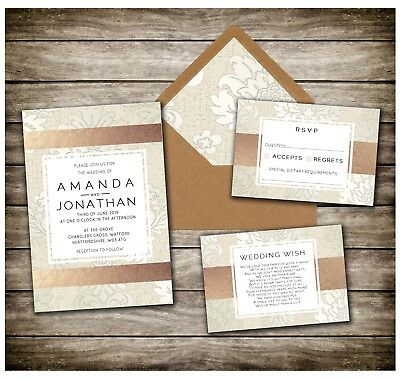 CHAMPAGNE & ROSE GOLD PRINT WEDDING INVITATIONS  x10 RSVPS, POEMS AVAILABLE