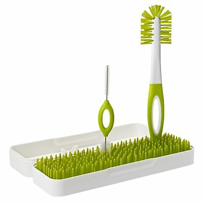 Boon TRIP Travel Drying Rack and Bottle Brush, Green, White