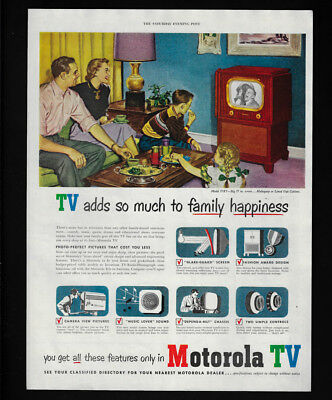 1951 Vintage Print Ad 50's MOTOROLA tv television family room home entertainment