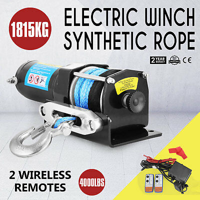 12V Wireless 4000LBS / 1815KGS Electric Winch Synthetic Rope ATV 4WD BOAT