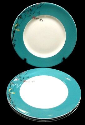 Lenox Simply Fine Chirp Dinne Plates x4 White Background Turquoise Rim Flowers