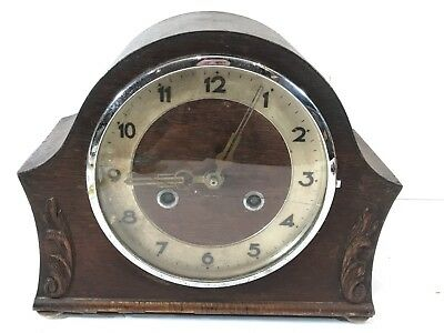 Vintage Shelf / Mantel Clock Mechanical Windup Collectable Wooden Cased Untested