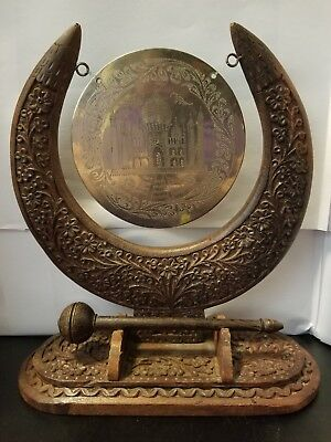 Vintage Ornate Handcarved Wood And Brass Gong with striker