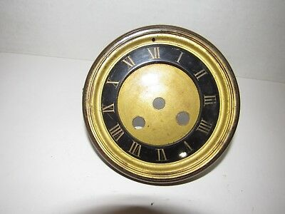 """Antique French Complete Mantel Clock Dial 4-3/4"""" Round With Glass"""