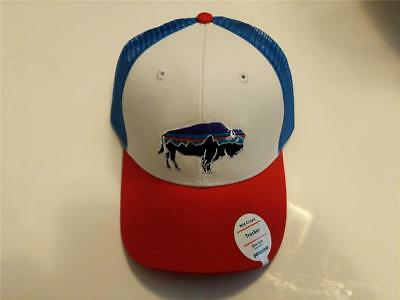 New Patagonia Fitz Roy Bison Trucker Hat Cap Buffalo Red Blue Organic Canvas 6137f7e75347