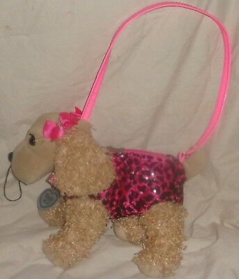 Poochie & Co Spaniel Puppy Dog Pink Sequence Purse Pocket Book