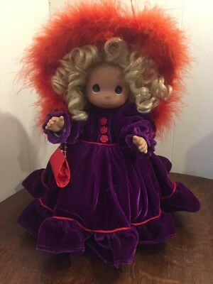 """Precious Moments 14""""Purple Dress Red Hat Lady Diva Doll With Stand"""