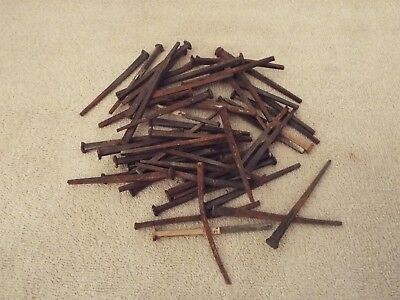 """50 Antique Vintage Square Head Nails 1870s Reclaimed Homestead Barn 3"""" - 3 1/4"""