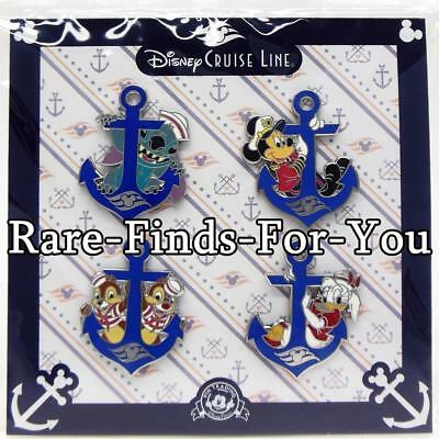 Disney Park DCL Cruise Line Mickey Stitch Chip Dale Daisy Duck 4-Pin Booster Set