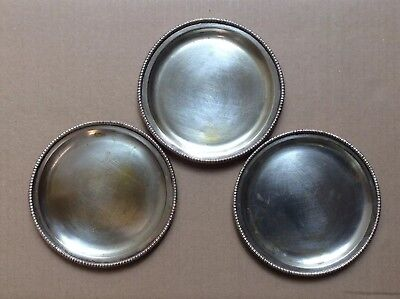 Set 3 Old Vtg Silver Plate Dishes Candy/Small Trays Handmade Peru Metal Argente