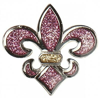 (Pink/Gold) - Navika Fleur De Lis Pink Glitzy Golf Ball Marker With Hat Clip