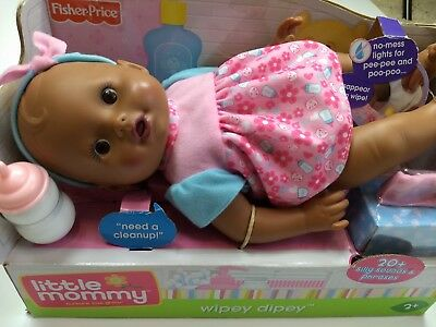 New Fisher Price Little Mommy Wipey Dipey African American Black Doll Sounds