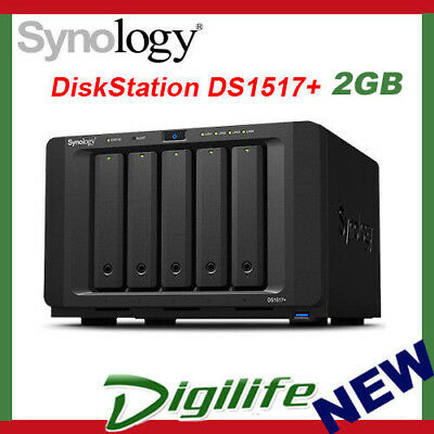 Synology DiskStation DS1517+ (2GB) 5 Bay Diskless NAS - Atom Quad Core CPU