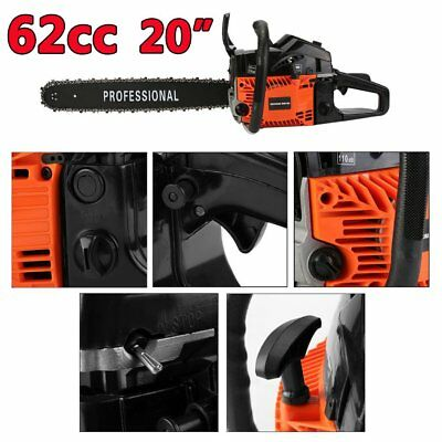 "62cc 20"" Petrol Chainsaw + 2 x Chains + More FAST UK SHIPPING"