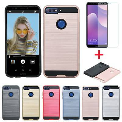 Heavy Duty Hybrid Armor Case Shockproof Cover For Huawei Honor 7A 7s 7C+Tempered