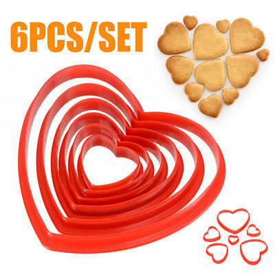 6pcs/Set Heart-shaped Cookie Cutter Biscuit Cake Pastry Set Pack Egg Mould Red