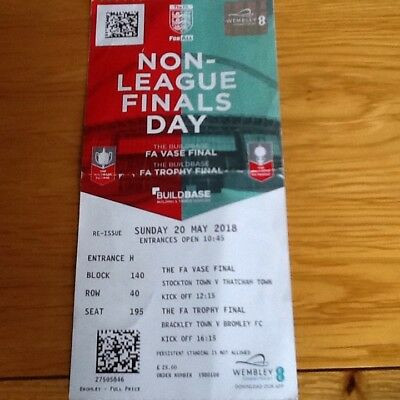 Non League Finals Day Ticket 20 May 2018 Brackley Town V Bromley Fc