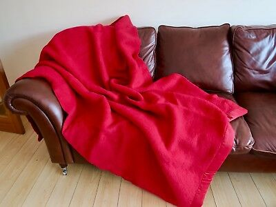 Large vintage wool blanket by Moderna, ruby red ,68 x 90 inches