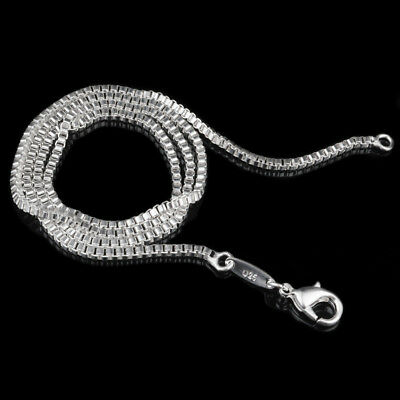 Solid 925 Sterling Silver Plated 1.4-2mm Long Open Box Link Chain Necklace