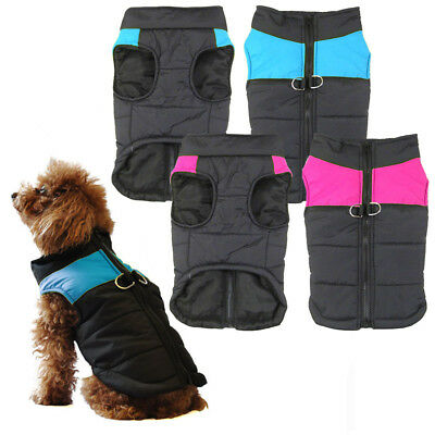 UK Small Dog Pet Warm Insulated Padded Coat Thick Winter Puffer Jacket Clothes