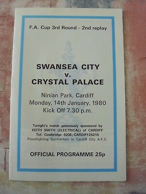 Swansea v Crystal Palace 14.1.1980 FA Cup 3rd Rd 2nd replay programme
