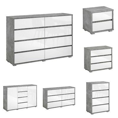 White Gloss Grey Concrete Effect Bedside Chest Range 2 3 4 6 8 Drawer New Units