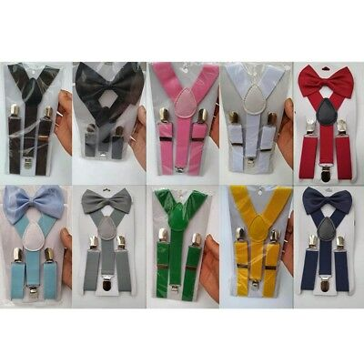 Baby Kids Adjustable Solid Suspender and Bow Tie Set Braces Elastic Y-back New