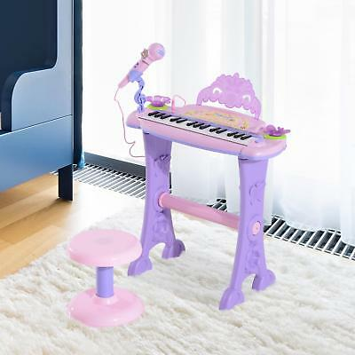 Small Piano & Stool Microphone Kids In Pink Lights Notes On Keys Record Keyboard