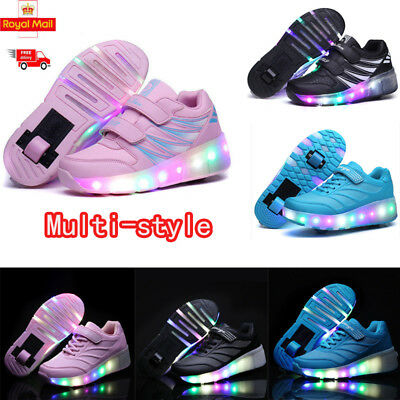 LED Heelys Wheels Boys & Girls Shoes Skates Kids Light Up Roller Skate Trainers