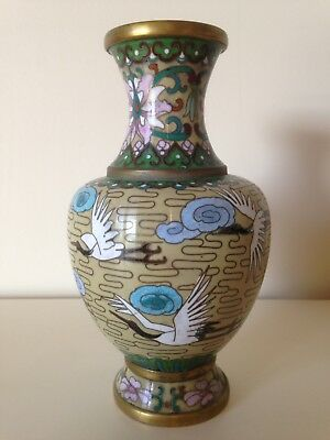 Vintage Asian Cloisonne Vase With Cranes