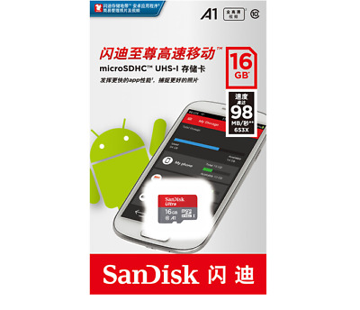 16GB SanDisk Micro SD SDHC Ultra 80MB/s Class 10 Memory Card TF Card For Phone