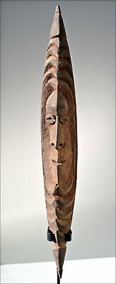 An Exceptional Old Middle Ramu River Carved Wooden Flute Mask - Papua New Guinea