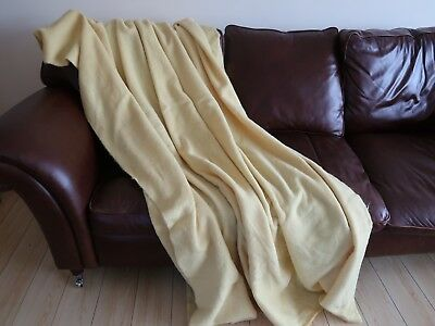 Large vintage lemon wool blanket/throw by ALL WOOL, 90 X 96 inches