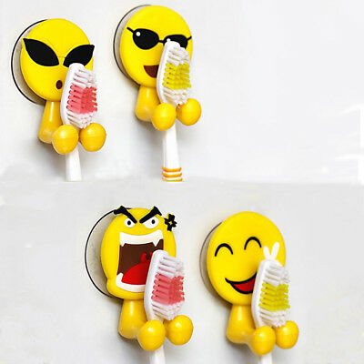 New Bathroom Decor Hook Toothbrush Holder Wall Mounted Expression Storage Rack