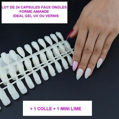 Lot 24 Capsules Tips Faux Ongle Amande Naturel Gel Uv Vernis Colle Lime Ong095