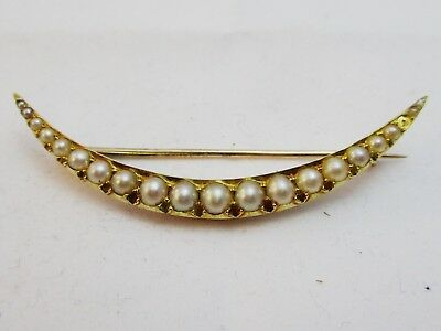 Antique Victorian Large 15ct Gold  & Pearl Crescent Brooch In Lovely Condition