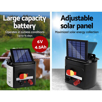 Solar Powered Electric Fence Energiser Fencing Charger Livestock Animal Farm