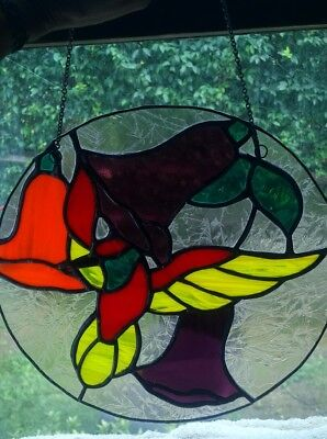 """Stained Glass Large 10"""" Round Hanging - Humming bird with 3 Flowers"""