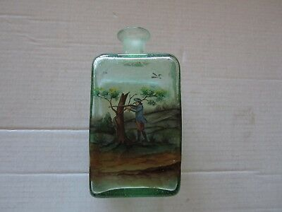 antique bottle, hunting scene painted , great detail