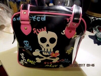 Lot of 6 ADDICTED Girls Casual School Travel Skull Print Shoulder Bag NEW