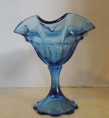 "Fenton Art Glass Twilight Blue ""Valencia"" Pattern Compote Candy Dish"