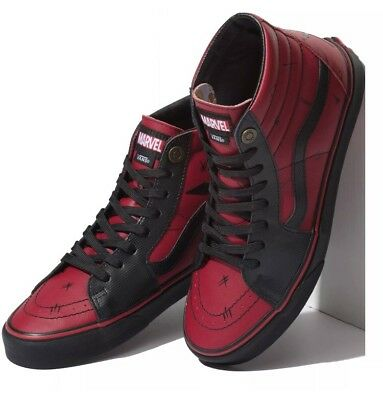 VANS X MARVEL Limited Edition Sk8 Hi Red Deadpool Rare!! Sz 9.5 Men