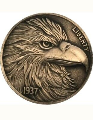Rare Hobo Nickel 5-cent 1937 BUFFALO NICKEL Eagle COIN Carved Crafted