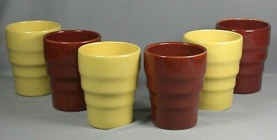 6 Vtg GMB Gladding McBean Franciscan Pottery El Patio Yellow & Brown Tumblers Cu