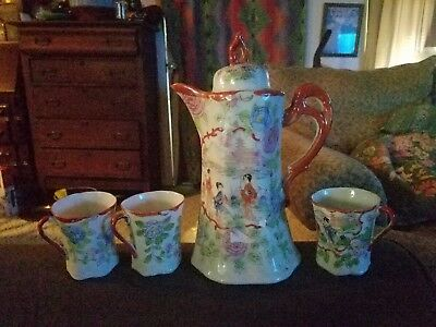 Red letter Japan hand-painted Tea set teapot tea pot and 3 cups